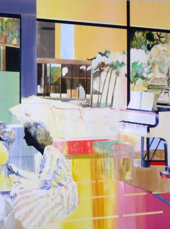 family-mother-daughter-piano-architecture-painting