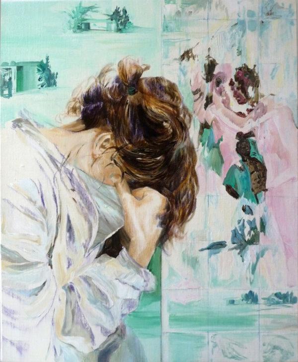 autoportrait-femme-triste-peinture-acrylique