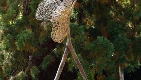 sculpture, homme, papillon, nature