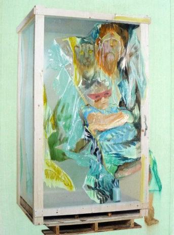 collage-enfermement-cage-caisse en bois