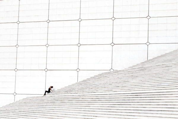 paris, La-Defense, escalier, noir, blanc