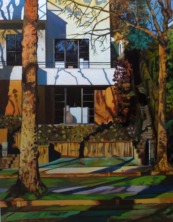 Peinture acrylique maison et paysage en automne