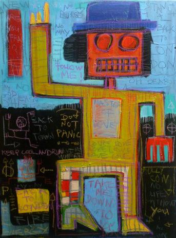 peinture street art, art urbain, urban art, painting, mixed media