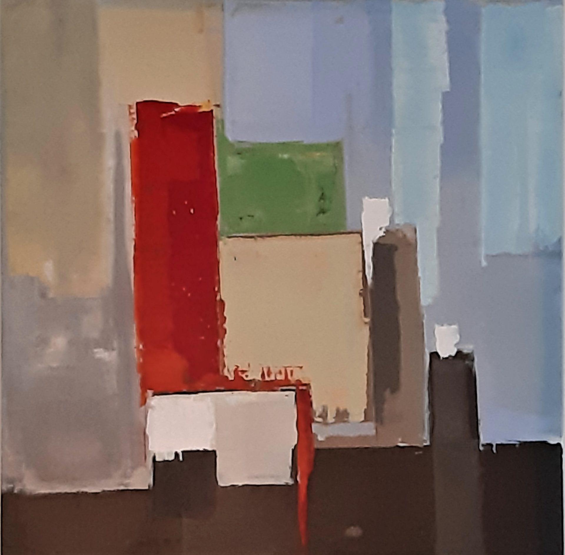 peinture abstrait, couleur, cube