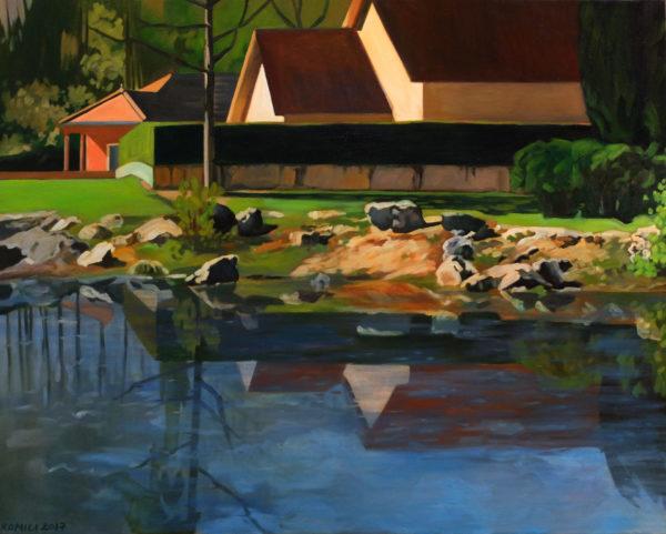 Peinture acrylique paysage et lac